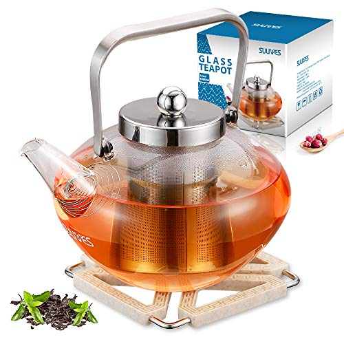 SULIVES Glass Teapot with Stainless Steel Infuser & Lid, Borosilicate Glass Flower Tea Kettle...