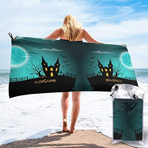 FLDONG Toalla de secado rápido para barco de castillo con impresión de luna llena, ultra suave y compacta, adecuada para camping, gimnasio, playa, hogar 81.5 x 163 cm