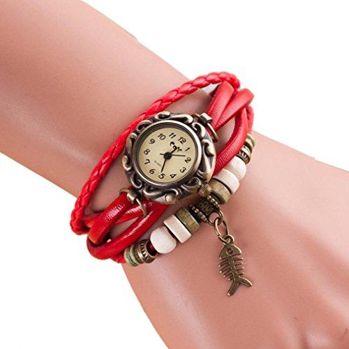 Leder Armbanduhr Charm Armband mingfa. Y Vintage Quarz Weave Fishbone Uhren Armreif für Frauen Damen Mädchen Length Of Watch: 210 mm rot