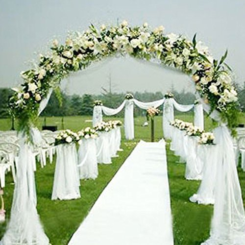 Perno de tul de tela, gasa sólida para la decoración de la boda Decoración para el hogar Sala de banquetes Sheer Organza Fabric Bolt (Blanco)