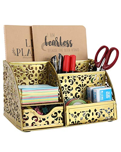 EasyPAG Office Metal Desk Organizer 6 Compartments + Drawer Mixed Pattern Design,Gold