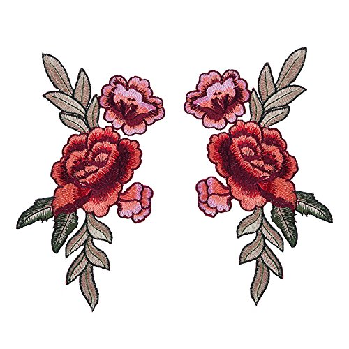 BBTO 2 Pieces Embroidered Patches, Flower Patches Iron on Patch Sew on Patch Sticker Applique Badge for Arts Crafts DIY Decor
