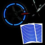 Leasinder 24pcs 12' Reflective Wheel Rim Stripe Decal Sticker for Motorcycle Wheels Car Cycling Bike Bicycle Night Reflective Safety Decoration Stripe Kids Reflective Rim Stickers (Blue)