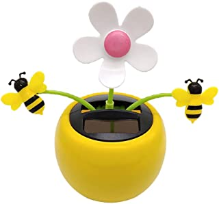 LuDa Solar Powered Flower Insect Dancing Doll Flap Toy Home Decor Honey Bee
