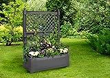 Jardinera grande con celosía (2 piezas) 100 cm, color antracita