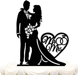 Mr and Mrs Cake Topper Acrylic Love Wedding Cake Topper Funny Bride and Groom Cake Topper (WE-01)