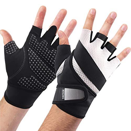 boildeg Fitness Handschuhe Trainingshandschuhe,Leicht Gewichtheben Ideal zum Gewichtheben,Crossfit Training und Radsportanzug für Damen und Herren (Weiß, L)