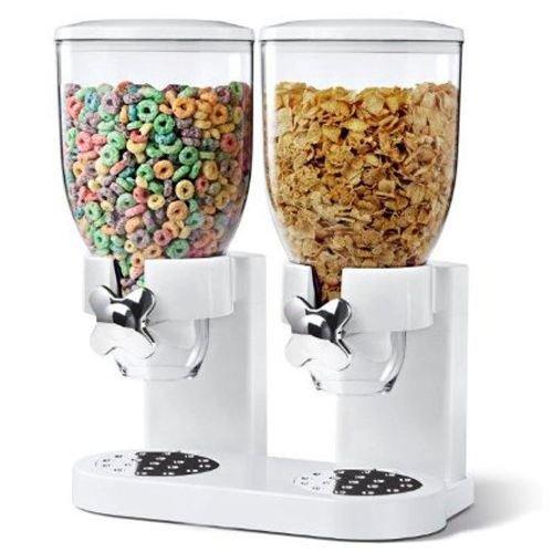 Dispensador de cereales de 500 g, doble dispensador de alimentos secos, color blanco, contenedor de almacenamiento para cocina