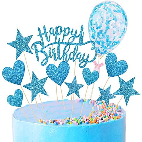 Feliz Cumpleaños Decoracion Tarta,Cumpleaños Cupcake Toppers,Globos Confeti Cupcake Topper,Decoración para Tartas de Cumpleaños,Utilizado Para Decoración De Pastel De Fiesta De Cumpleaños (Azul)