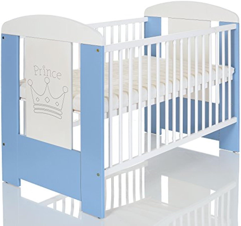 Kinderbett 120x60 cm wei-blau mit 3-fach Hhenverstellbarer Komfort Matratze und 3 Schlupfsprossen