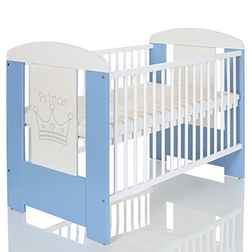 Kinderbett 120x60 cm weiß-blau mit 3-fach Höhenverstellbarer Komfort Matratze und 3 Schlupfsprossen