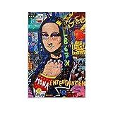 Cartel de arte callejero Mona Lisa para pared de lienzo de pintura decorativa para sala de estar, carteles de dormitorio, 40 x 60 cm