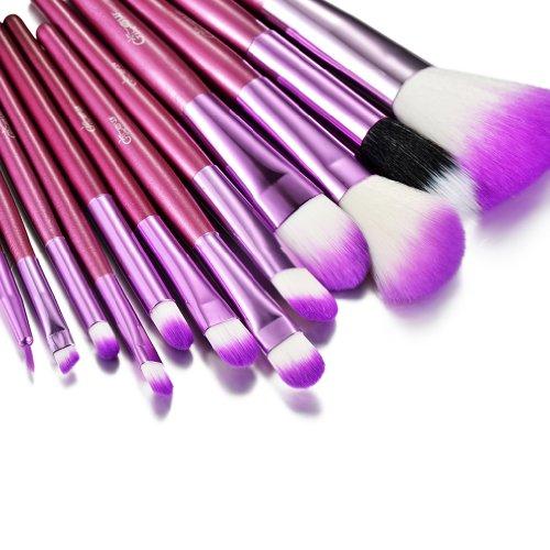 Glow Purple Ensemble de pinceaux de maquillageEnsemble de -12 pièces pour le maquillage du visage et des yeux - Kit de pinceaux polyvalents - Kit de maquillage cosmétique pratique - Couleur violette