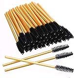 Elisel 100 PCS Disposable Eyelash Brushes Mascara Brushes Eye Lash Eyebrow Applicator Cosmetic Makeup Brush Tool Kits (Gold-Black)