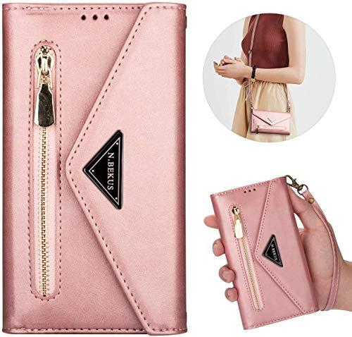Kompatibel mit Samsung Galaxy J7 2018 Hülle Leder Tasche Brieftasche Flip Wallet Case Schutzhülle Handyhülle Reißverschluss Geldbörse Klapphülle Handytasche mit 5 Kartenfächer,Roségold