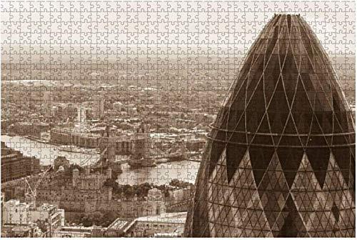 London Tower Bridge y The Shard Landscape Tower Bridge Piece Rompecabezas para adultos Juguete educativo para niños Rompecabezas creativos de madera para decoración del hogar, 500 piezas 52 * 38 cm