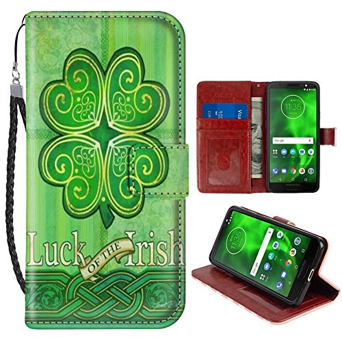 Wallet Case Compatible with Motorola Moto G6 (5.7in) Celtic Clover Green Luck of The Irish Folio
