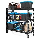 FLEXIMOUNTS Garage Shelving Unit w/ 3 Adjustable Shelf Steel Wire Decks, 2 x 4 ft, 4650 lbs Weight Capacity Storage Rack, Heavy Duty Industrial Metal Shelving