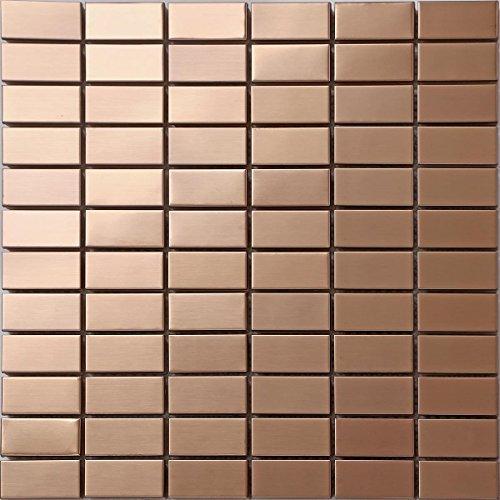 3Confezione da 30x 30cm Piastrelle di mosaico oro in acciaio inox (mt0105)