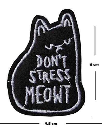 No Stress Meowt bordado parche hierro en o coser en bordado Diseño de gatos amante transferencia apliques, diseño de gato