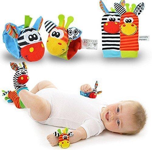 Senshi Japan New Born Baby Socks - Wrist And Feet Bands With Rattle Sounds - Rattling Sound Toy Clothing, Ideal For Newborns, Children, Infant, Kids, etc. - Sensory Development Socks