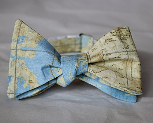 World Map Bow Tie - For men or boys - Clip on, pre-tied with strap or self tying, freestyle
