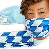 Textil Design-Maske waschbar aus Baumwolle mit Innenvlies - bayerisch Raute groß Blau-Weiss + Zugabe