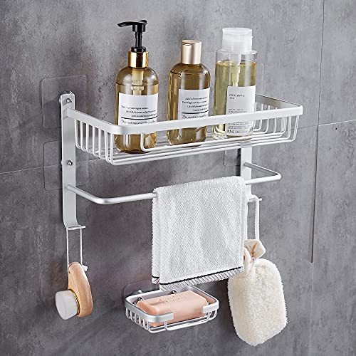 Hoomtaook Estanteria Baño Sin Taladro Estanteria Ducha Estanteria Baño Para de Baño Ducha con una caja de jabó Blanco