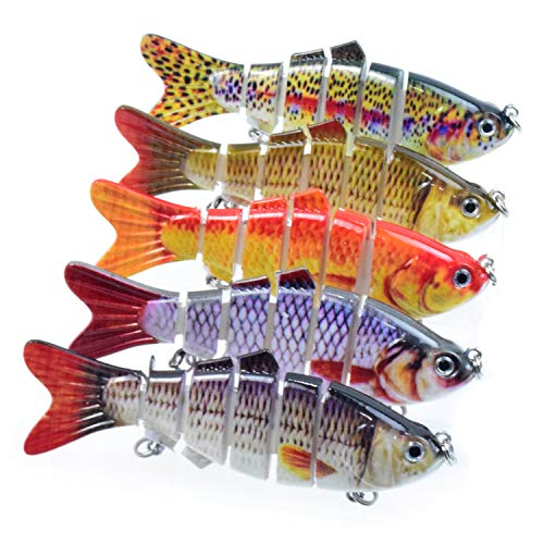 Lixada Fishing Lure for Bass 5-8' Multi Swimbaits Slow Sinking Hard Lure Artificial Bait 8Segment Lifelike Trout Hard Crankbait Treble Hooks