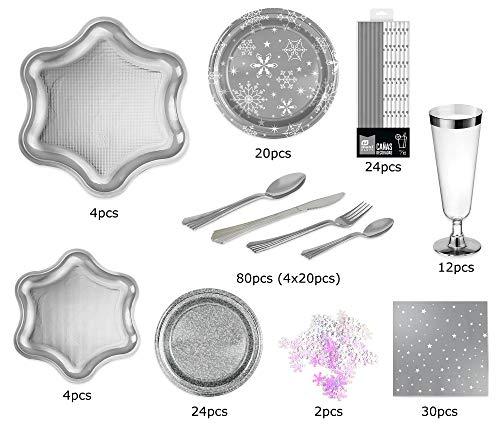 [Pack ahorro] Kit de vajilla desechable elegante con decoración de mesa para navidad ideal para fiestas - Plata -...