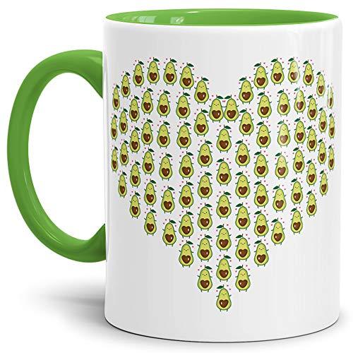 Tassendruck Avocado-Tasse Herz Innen & Henkel Hellgrün/Trend-Frucht/Geschenk-Idee/Kaffee-Tasse/Mug/Cup/Beste Qualität - 25 Jahre Erfahrung