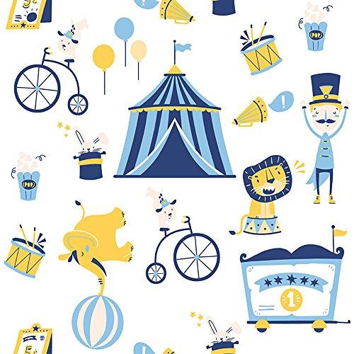 Papel de Parede Infantil, Circo, Azul/Amarelo, 1000x52 cm, Bobinex Uau