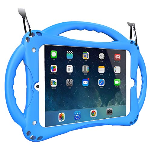 TopEsct Funda para iPad Mini Niños Shock Proof Material Silicona Lightweight Kids Protector Cover Case con Manija para Apple iPad Mini 5/Mini4/Mini3 / Mini2 / Mini1 (iPad Mini, Azul)