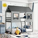 Kids House Bed with Windows, Wood Bunk Bed with Built-in Ladder, Roof for Teens, Girls & Boys Toddlers Bedroom Furniture (Grey)