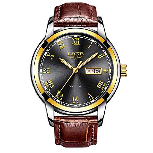 Modische Herren-Armbanduhr mit Lederarmband, schwarz, wasserdicht bis 30 m, Datum, Kalender, für Freizeit und Business, Sportuhr