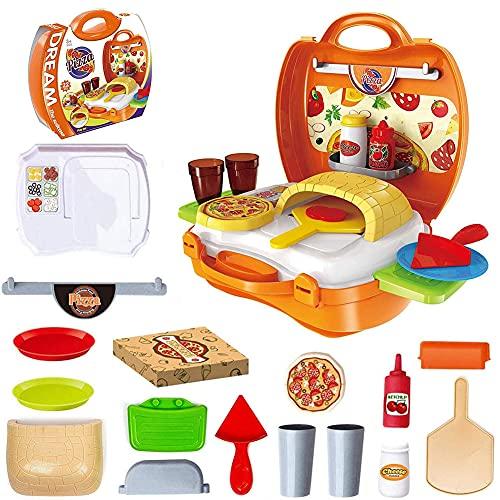 Tastak Juguete de fiesta de pizza, juego de comida con horno y accesorios, horno de pizza de simulación, rebanadas de pizza, ingredientes para pizza, gran juguete de simulación, regalo para niños pequ