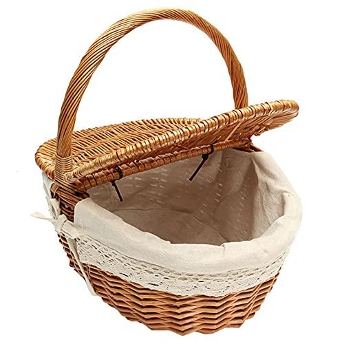 JINGLING Cestino da picnic in vimini ovale da picnic in vimini con manici pieghevoli e inserti in tessuto, 26 x 18 x 16 cm