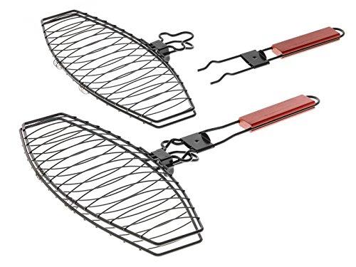 Mustang Fischgriller, Fischbräter, Fischgrillkorb mit Antihaftbeschichtung und abnehmbaren Griff 41cm x 24cm