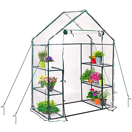 Walk-In Garden Vegetable Fruit Greenhouse, 143 x 73 x 195 cm - Includes 6 Shelves, 4 Ropes, 4 Stakes & Weather...