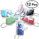 TOYMYTOY Mini Canvas Sneaker Schuh Keychain - Schlüsselanhänger für Frauen Girl Souvenir Geschenk - Pack von 12 (Zufällige Farbe)