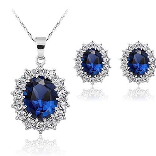 Stayeal Damen/Prinzessinnen Halsketten und Ohrringe-Set mit Blauem Saphir-Anhänger