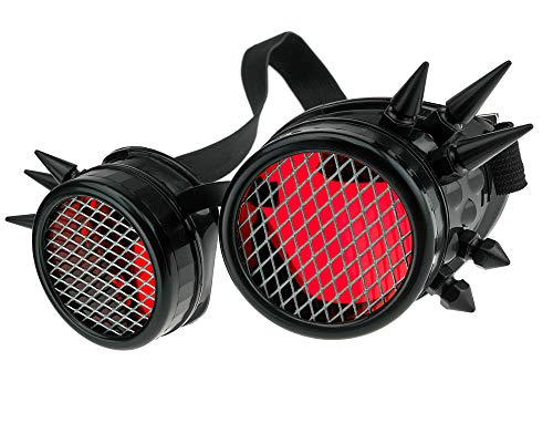 MFAZ Morefaz Ltd Welding Cyber Goggles Schutzbrille Schweißen Sonnenbrille Steampunk Goth Round Cosplay Brille Party Fancy Dress (Black Spikes-Grid)