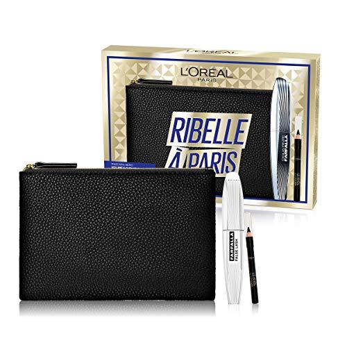 L'Oréal Paris Idea Regalo Donna Natale 2020, Pochette con Mascara Volumizzante Ciglia Finte Farfalla e Matita Occhi Nera Le Khol