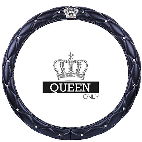 "Queen's Auto Steering Wheel Cover with Noble Crown + Bling Diamond + Soft Leather Car Stylish Series Universal 15""/38cm (Queen ONLY) (Black)"