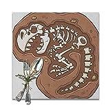 ZORMIEY Salvamanteles Mantel Individual,Patrón de fósil de T-Rex en el Suelo Arqueología de Huesos Muertos Tema de la prehistoria,Mantel Individual Antideslizante y Resistente al Calor