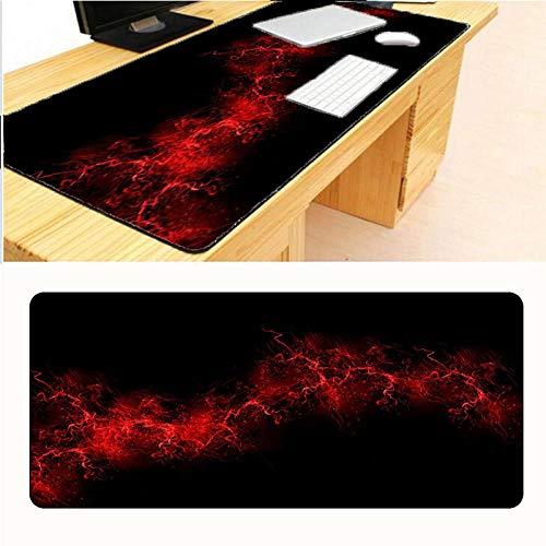 Alfombrilla de ratón extra grande, con personalidad brillante roja, hermoso arte de rayas, tela de textura premium, base de goma antideslizante, impermeable, para escritorio, oficina, hogar, 30x70cm(12x28inch)