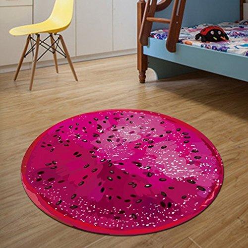 Unbekannt Skandinavien Teppich Kreative 3D Obst Runde Teppich Computer drehstuhl Wohnzimmer Schlafzimmer Studie Dekorative Matte Teppiche/Matte (Farbe : F1, größe : 60 * 60cm)