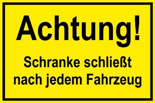 Informatiebord - Let op! Kast sluit na elk voertuig - zelfklevende folie - 20 x 30 cm
