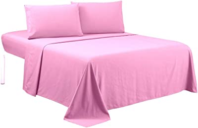 Bedding Castle,, 800 Thread Count Luxury Egyptian Cotton 4pc Sheet Set-Stain Wrinkle Fade Resistant, 13 inch Deep Pocket Bedding Set (Olmypic Queen, Pink)