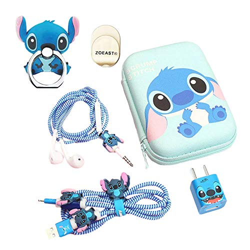 ZOEAST(TM) Stitch Set DIY Protectors Phone Ring Apple Data Cable USB Charger Data Line Earphone Wire Saver Protector Compatible iPhone 5 5S SE 6 6S 7 8 Plus X IPad iPod iWatch (Advanced Stitch)